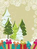 Xmas trees with Gift boxes on floral decorative background for C — Stock Vector
