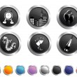 A set of New Year Icons in black & White color, Vector illustrat — Imagens vectoriais em stock