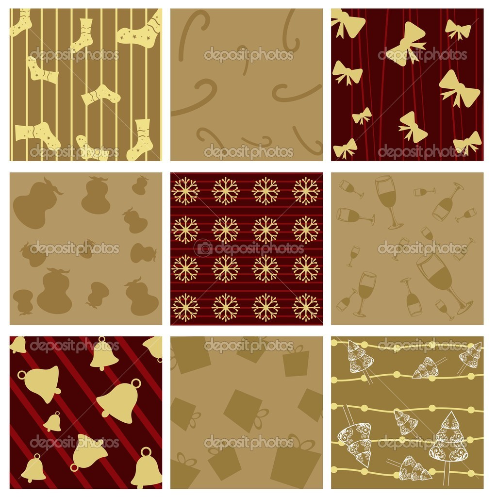 Seamless Christmas Pattern  with Christmas elements like gifts,candy cane,sock,tree,bow,floral,glass for Christmas & other Occasions.  Stock Vector #7942850