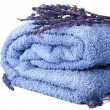Towel and lavender isolated — Stockfoto #7183652