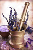 Mortar with lavender — Stock Photo