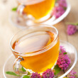 Herbal tea and clover flowers — Stock Photo #7337501