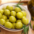 Green olives and oil — Stock Photo #7411443