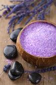 Lavender salt for spa — Stock Photo