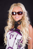 Blond female in black sunglasses — Foto Stock