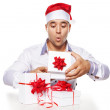 Image of attractive male with christmas presents — Stock Photo