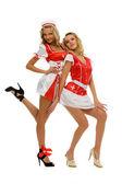 две красивые женщины в карнавальном наряде. медсестра форма — Стоковое фото