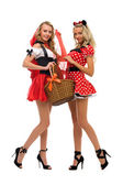 Two women in carnival costume. Little Red Riding Hood and mouse shape — Stock Photo