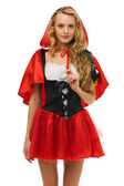 Woman in carnival costume. Little Red Riding Hood shape — Stock Photo