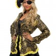 Beautiful woman in a carnival costume. Pirate shape. — Stock Photo