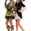 Two beautiful women in carnival costumes. Pirate and empress sha - Foto Stock