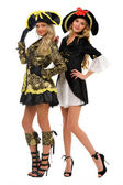 Two beautiful women in carnival costumes. Pirate and empress sha — Stock Photo