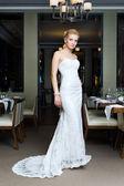 Beautiful bride in the restaurant — Stock Photo