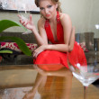 Stock Photo: Beautiful womwith glass