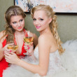 The bride and her bridesmaid with a glass of wine — Stock Photo
