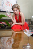 Beautiful woman with the glass — Foto Stock