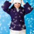 Beautiful woman in winter fashion. Snowflake. — Stock Photo
