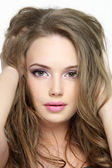 Portrait of beautiful pretty face of young girl — Stock Photo