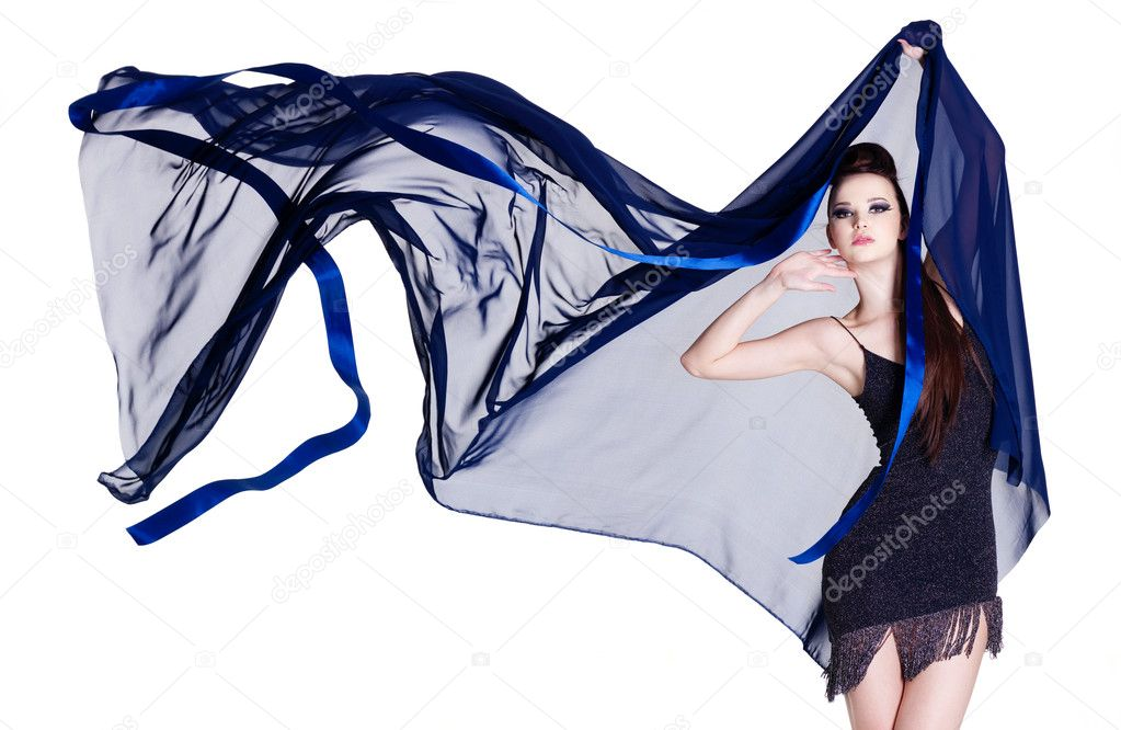 Glamour beautiful elegance young woman with blowing chiffon - isolated on white  Stock Photo #6836665