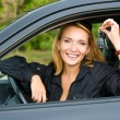 Woman shows keys from the car — Stock Photo