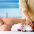 Spa massage for the beautiful body of woman — Stock Photo