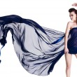 Glamour sensuality woman with chiffon — Foto de Stock