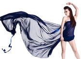 Glamour sensuality woman with chiffon — Stock Photo