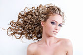 Young beautiful woman with beauty hairs — Stock Photo