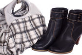 Blue woman boots and handbag — Stock Photo