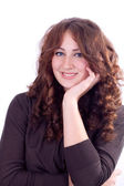 портрет улыбается женщина ее подбородок с стороны — Стоковое фото