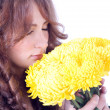 Beautiful woman with chrysanthemums — Stock Photo