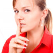 Woman Making Silence Gesture — Stock Photo