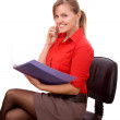 Woman with the documents on the phone — Stock Photo