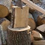 cortando leña — Foto de Stock