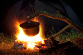 Pot on fire — Stockfoto
