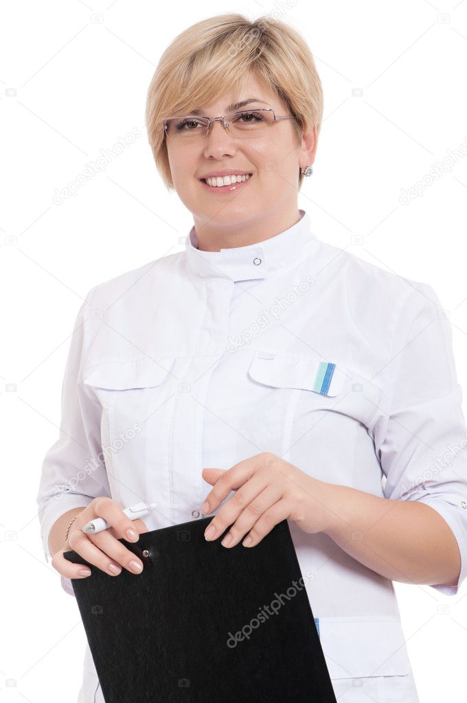 Portrait of smiling female doctor holding a clipboard - isolated over a white background — Stok fotoğraf #6892399