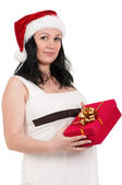 Pregnant woman with gift box — Stock Photo