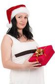 Schwangere frau mit geschenk-box — Stockfoto