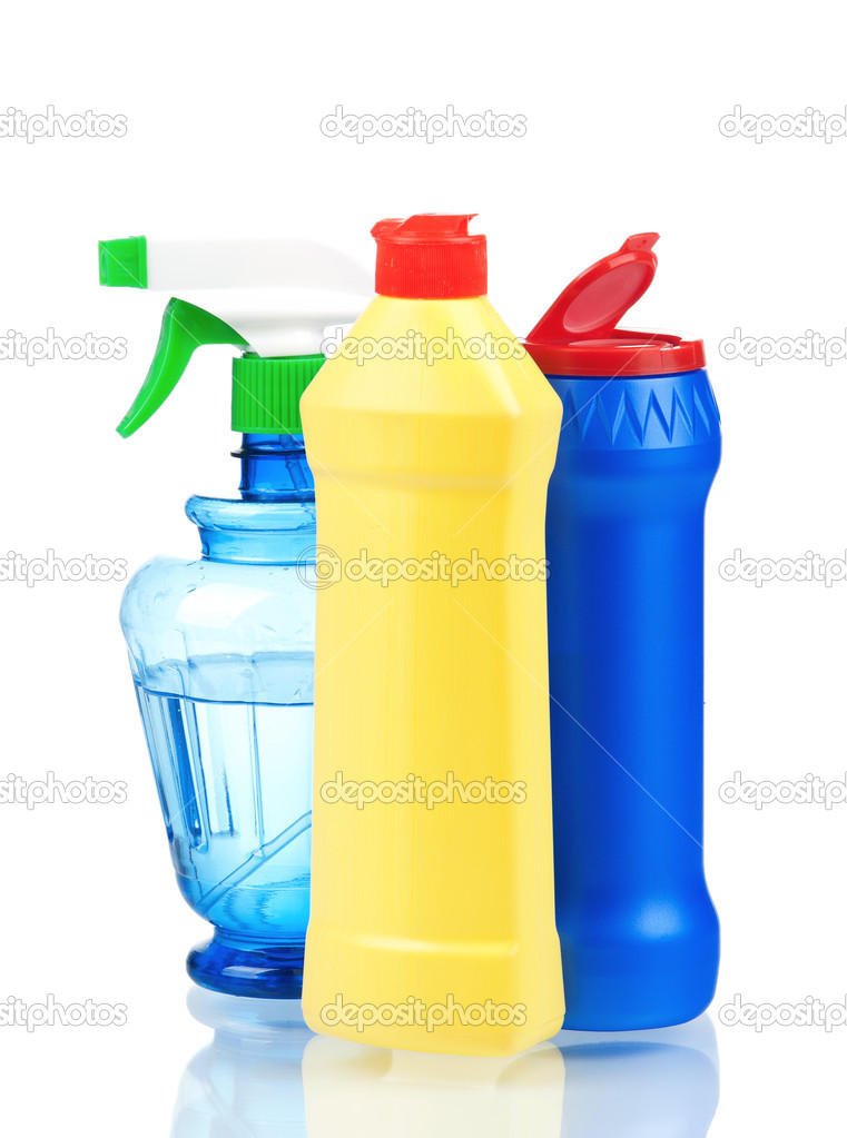 Plastic bottles of cleaning products isolated on white background — Stock Photo #6935010