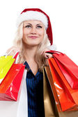 Christmas woman with shopping bags — Stock Photo