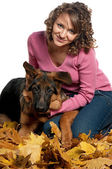 Portrait of woman with dog — Stock Photo