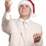 Portrait of man in santa hat — Stock Photo