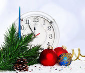 Baubles with clock — Stock Photo