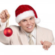 Portrait of man in santa hat — Stock Photo