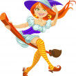 Stock Vector: Beautiful young witch on broomstick in air