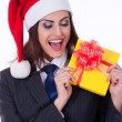 Businesswoman wearing a santa's hat — ストック写真