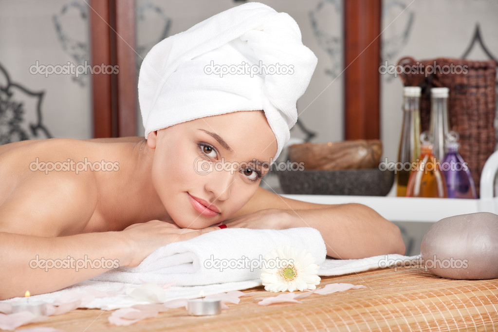 Beautiful woman having relax in spa salon  Stock Photo #7882191