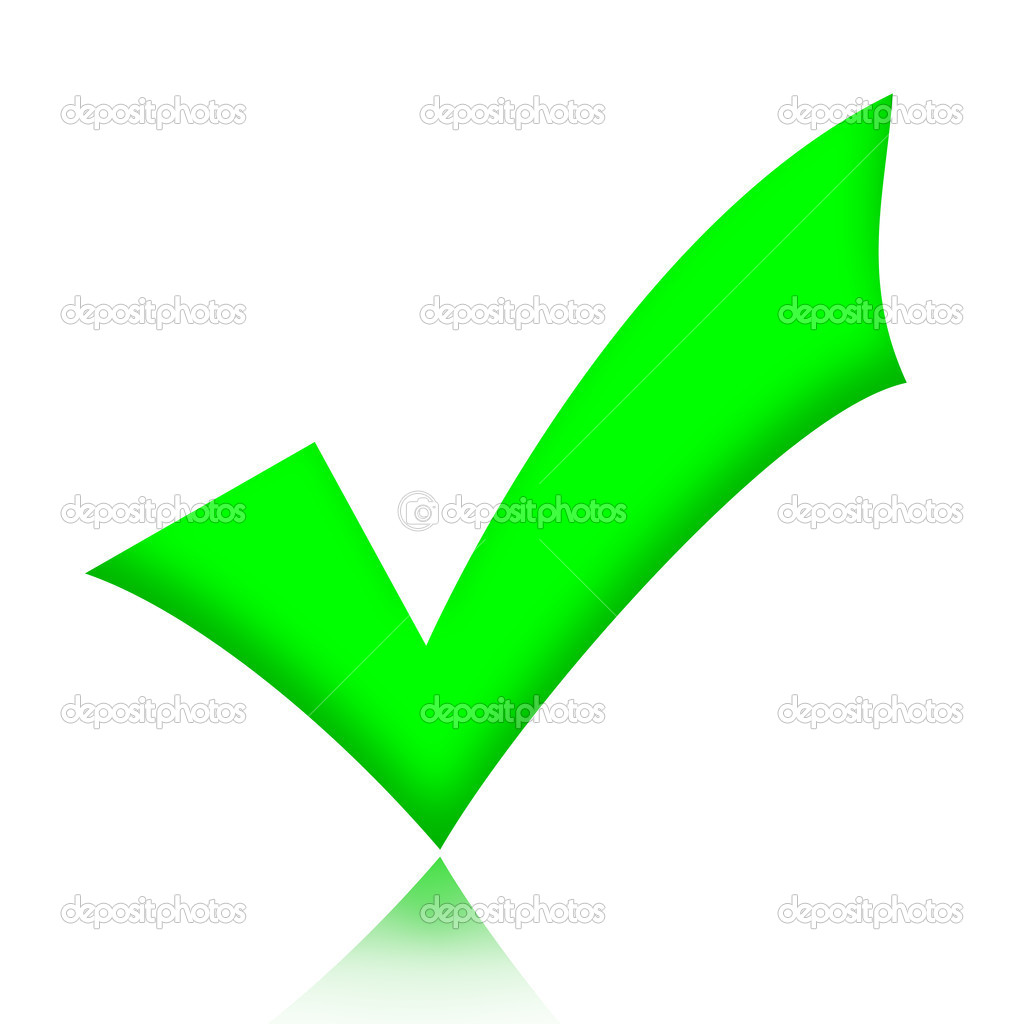 Green check mark sign illustration over white background — Stock Photo #7391759
