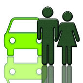 Grünes Auto und — Stockfoto