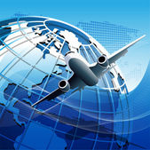 Mavi küre uçakta — Stok Vektör